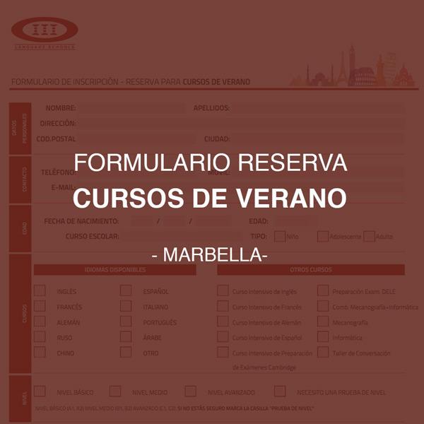 Formulario de Inscripción y reserva para cursos de idiomas en verano - Marbella