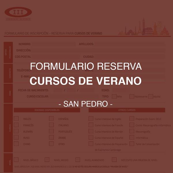Formulario de Inscripción y reserva para cursos de idiomas en verano - San Pedro
