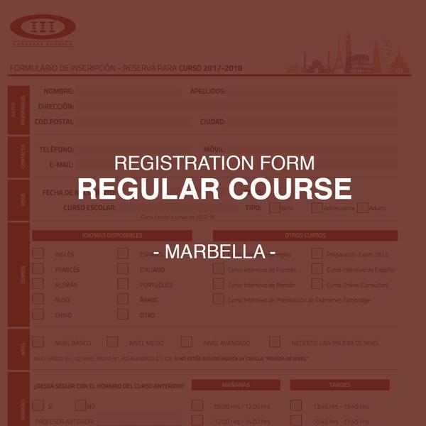 Registration Form for Regular Courses - Marbella