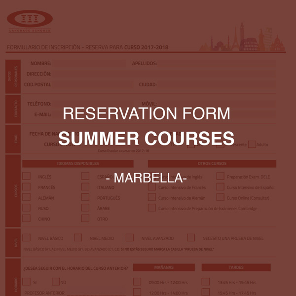 Reservation form for Summer Courses of Marbella
