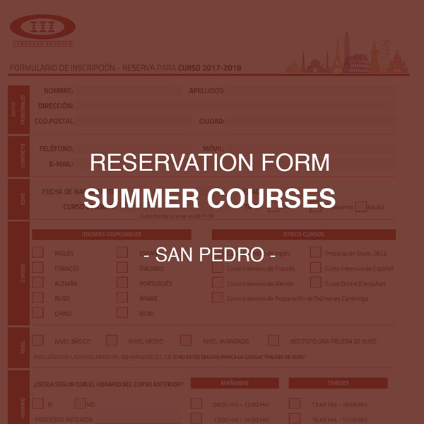 Reservation Form for summer courses of San Pedro
