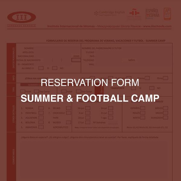 Reservation Form - Summer & Football Camp Marbella